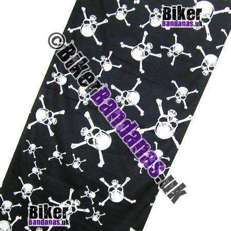 Fabric view of Black Skull and Crossbones Multifunctional Headwear / Neck Tube Bandana / Neck Warmer