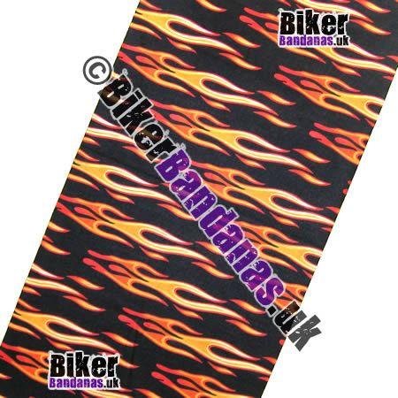 Fabric view of Black Horizontal Tribal Flames Multifunctional Headwear / Neck Tube Bandana / Neck Warmer