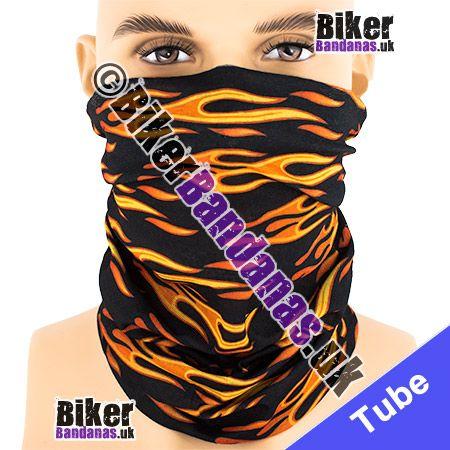 Black Horizontal Tribal Flames Multifunctional Headwear / Neck Tube Bandana / Neck Warmer