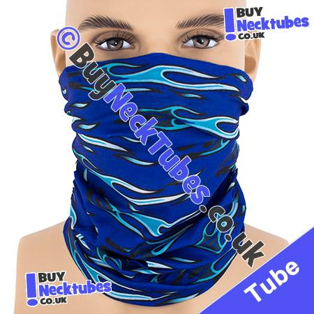 Blue Horizontal Tribal Flames Multifunctional Headwear / Neck Tube Bandana / Neck Warmer