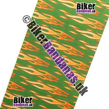 Fabric view of Green Horizontal Tribal Flames Multifunctional Headwear / Neck Tube Bandana / Neck Warmer