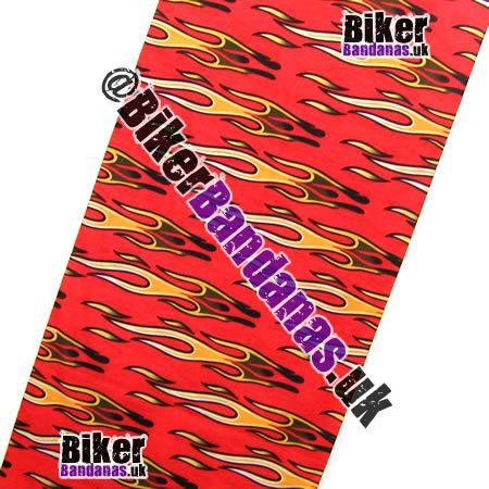 Fabric view of Red Horizontal Tribal Flames Multifunctional Headwear / Neck Tube Bandana / Neck Warmer