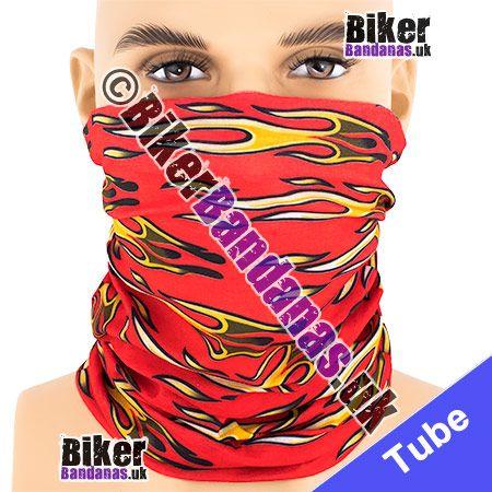 Red Horizontal Tribal Flames Multifunctional Headwear / Neck Tube Bandana / Neck Warmer