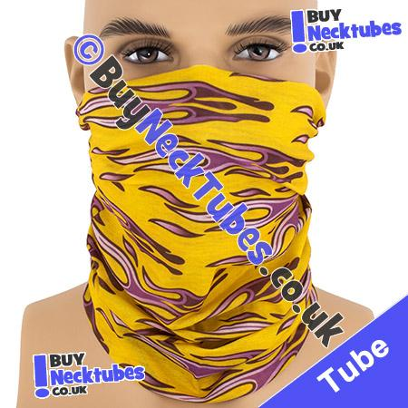 Yellow Horizontal Tribal Flames Multifunctional Headwear / Neck Tube Bandana / Neck Warmer