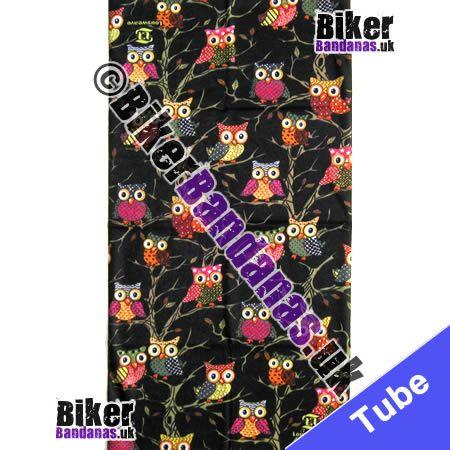 Fabric view of Cute Owls in Trees on Black Multifunctional Headwear / Neck Tube Bandana / Neck Warmer