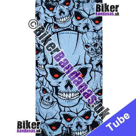 Fabric view of Red-Eyed Grey Skulls Multifunctional Headwear / Neck Tube Bandana / Neck Warmer