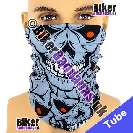 Red-Eyed Grey Skulls Multifunctional Headwear / Neck Tube Bandana / Neck Warmer