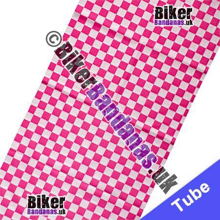 Fabric view of Pink & White Checked Multifunctional Headwear / Neck Tube Bandana / Neck Warmer