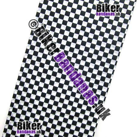 Fabric view of Black & White Regular Check Multifunctional Headwear / Neck Tube Bandana