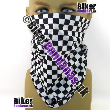 Black & White Regular Check Multifunctional Headwear / Neck Tube Bandana / Neck Warmer