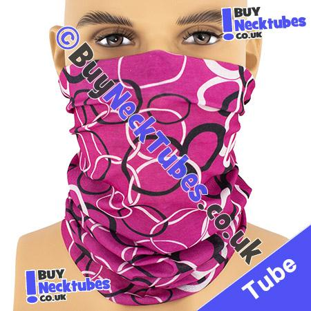 Pink with Black and White Linking Loops Multifunctional Headwear / Neck Tube Bandana / Neck Warmer