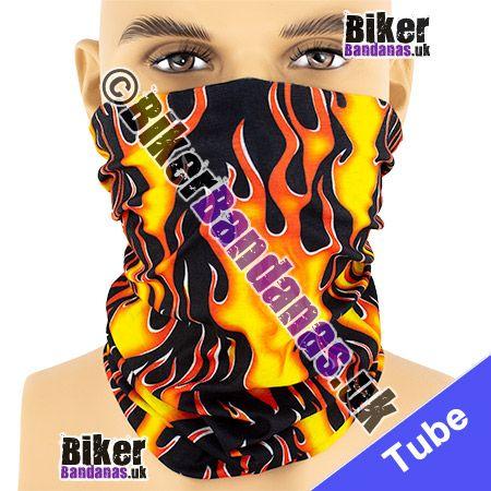 All-over Tribal Flames on Black Multifunctional Headwear / Neck Tube Bandana / Neck Warmer