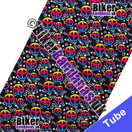 Fabric view of Black CND Peace Multifunctional Headwear / Neck Tube Bandana / Neck Warmer