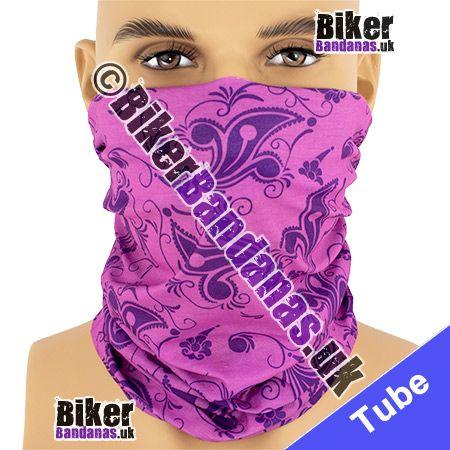 Pink and Purple Fleur de Lys Multifunctional Headwear / Neck Tube Bandana / Neck Warmer