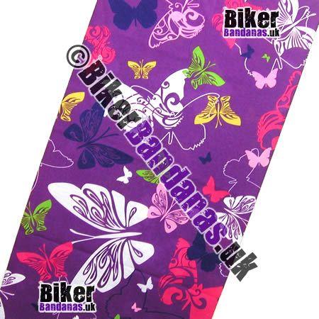 Fabric view of Butterflies on Purple Multifunctional Headwear / Neck Tube Bandana / Neck Warmer