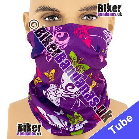 Butterflies on Purple Multifunctional Headwear / Neck Tube Bandana / Neck Warmer