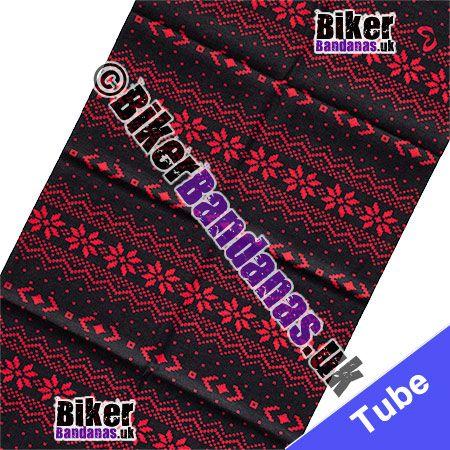 Fabric view of Red Fairisle on Black Multifunctional Headwear / Neck Tube Bandana / Neck Warmer