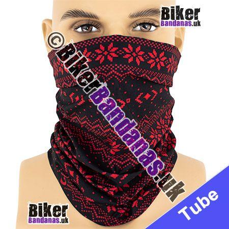 Red Fairisle on Black Multifunctional Headwear / Neck Tube Bandana / Neck Warmer