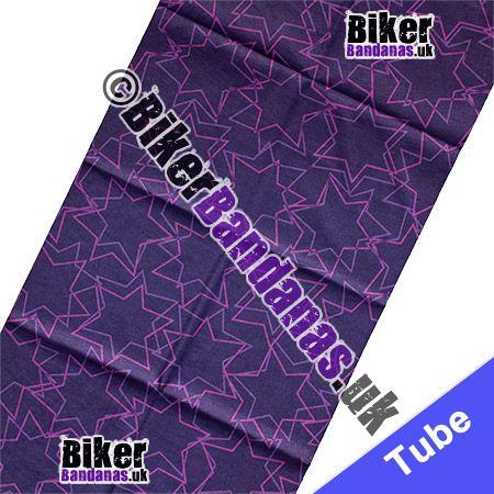 Fabric view of Purple Star Outlines Multifunctional Headwear / Neck Tube Bandana / Neck Warmer