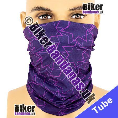 Purple Star Outlines Multifunctional Headwear / Neck Tube Bandana / Neck Warmer