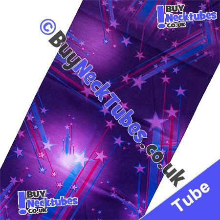 Fabric view of Purple Shooting Stars Multifunctional Headwear / Neck Tube Bandana / Neck Warmer