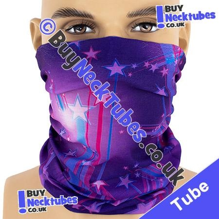 Purple Shooting Stars Multifunctional Headwear / Neck Tube Bandana / Neck Warmer