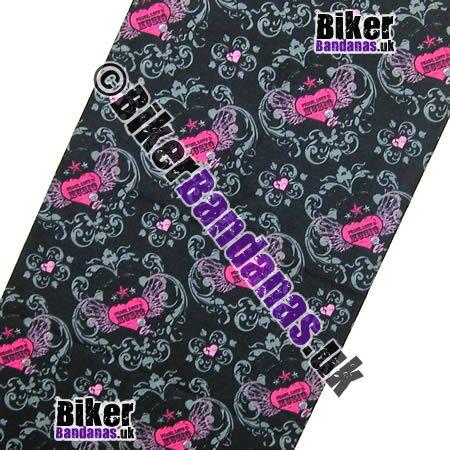 Fabric view of Peace Love and Music on Black Multifunctional Headwear / Neck Tube Bandana / Neck Warmer