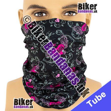 Peace Love and Music on Black Multifunctional Headwear / Neck Tube Bandana / Neck Warmer