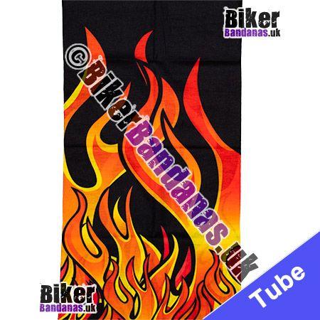 Fabric view of Vibrant Tribal Flames on Black Multifunctional Headwear / Neck Tube Bandana / Neck Warmer