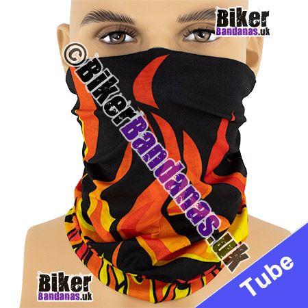 Vibrant Tribal Flames on Black Multifunctional Headwear / Neck Tube Bandana / Neck Warmer