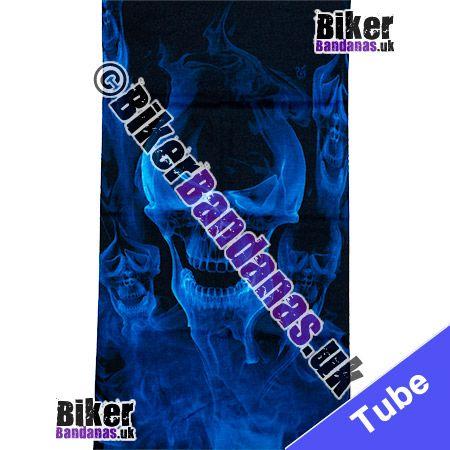 Fabric view of Vaporising Blue Skulls on Black Multifunctional Headwear / Neck Tube Bandana / Neck Warmer