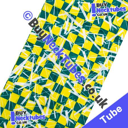Fabric view of Green and Yellow Shattered Checked Squares Multifunctional Headwear / Neck Tube Bandana / Neck Warmer