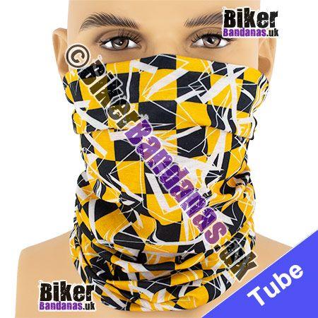 Orange and Black Shattered Checked Squares Multifunctional Headwear / Neck Tube Bandana / Neck Warmer