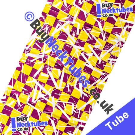 Fabric view of Purple and Yellow Shattered Checked Squares Multifunctional Headwear / Neck Tube Bandana / Neck Warmer