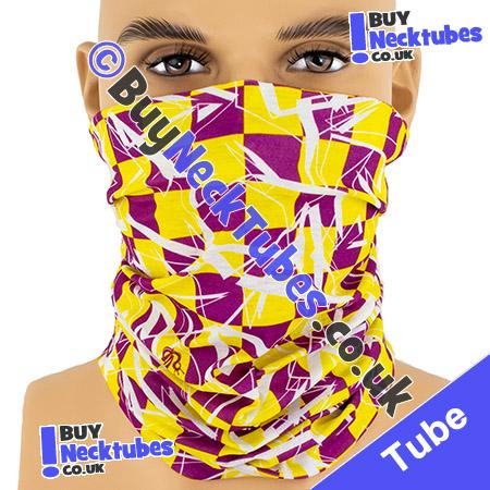 Purple and Yellow Shattered Checked Squares Multifunctional Headwear / Neck Tube Bandana / Neck Warmer