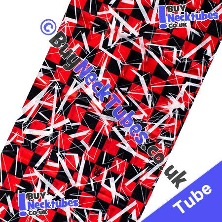 Fabric view of Red and Black Shattered Checked Squares Multifunctional Headwear / Neck Tube Bandana / Neck Warmer