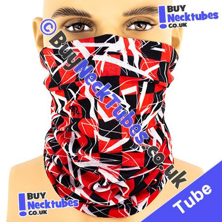 Red and Black Shattered Checked Squares Multifunctional Headwear / Neck Tube Bandana / Neck Warmer