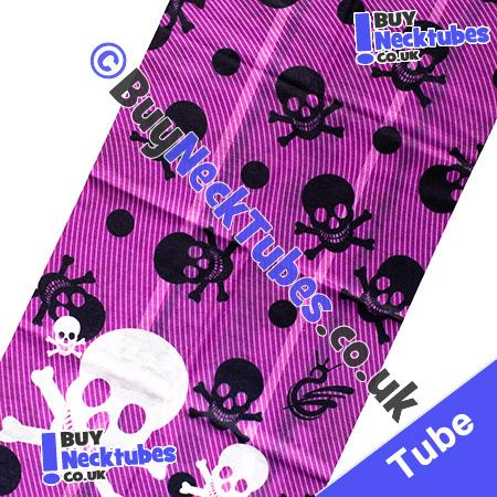 Fabric view of Purple Twill Print with Black and White Skull and Bones Multifunctional Headwear / Neck Tube Bandana / Neck Warmer