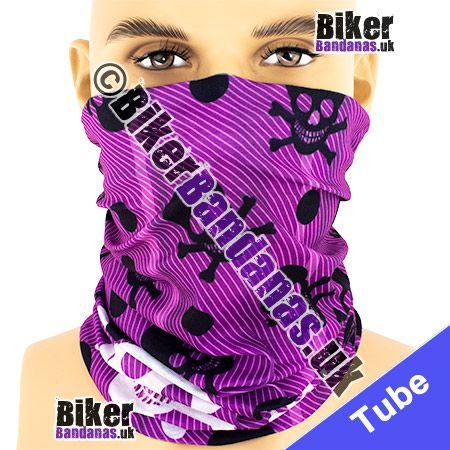 Purple Twill Print with Black and White Skull and Bones Multifunctional Headwear / Neck Tube Bandana / Neck Warmer