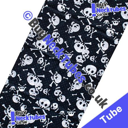 Fabric view of Spotted Skull and Crossbones on Black Multifunctional Headwear / Neck Tube Bandana / Neck Warmer