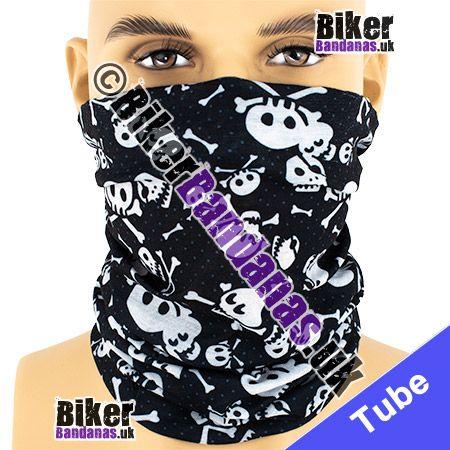 Spotted Skull and Crossbones on Black Multifunctional Headwear / Neck Tube Bandana / Neck Warmer