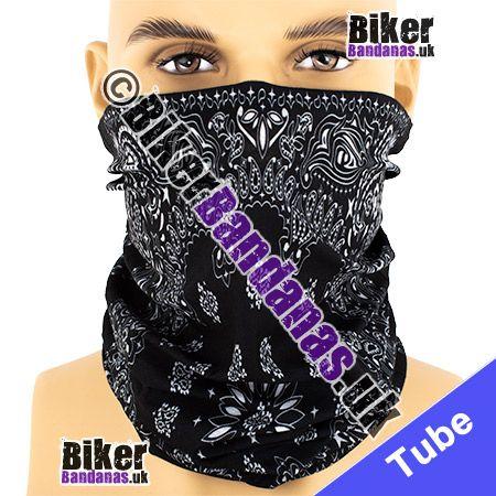 Black Circular Paisley Panel Multifunctional Headwear / Neck Tube Bandana / Neck Warmer