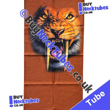 Fabric view of Roaring Lion Face with Fangs on Brown Multifunctional Headwear / Neck Tube Bandana / Neck Warmer