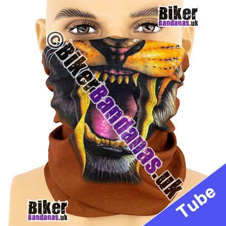 Roaring Lion Face with Fangs on Brown Multifunctional Headwear / Neck Tube Bandana / Neck Warmer