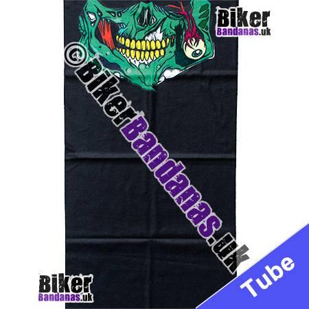 Fabric view of Green Skull Jaw on Black Multifunctional Headwear / Neck Tube Bandana