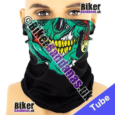 Green Skull Jaw on Black Multifunctional Headwear / Neck Tube Bandana
