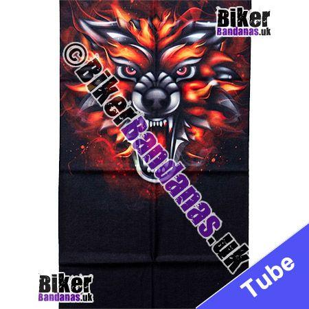 Fabric view of Mad Dog Wolf Face on Black Multifunctional Headwear / Neck Tube Bandana / Neck Warmer