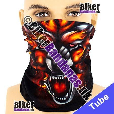 Mad Dog Wolf Face on Black Multifunctional Headwear / Neck Tube Bandana / Neck Warmer
