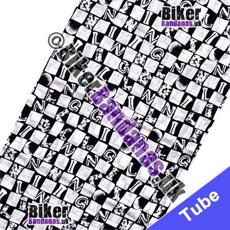 Fabric view of Black & White Alphabet Check Multifunctional Headwear / Neck Tube Bandana / Neck Warmer