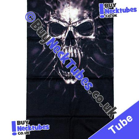 Fabric view of Bronzed Tortured Skull Face on Black Multifunctional Headwear / Neck Tube Bandana / Neck Warmer